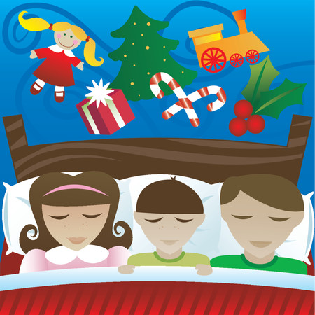 Three kids sleep on Christmas night, dreaming of the candy and presents they'll find in the morning