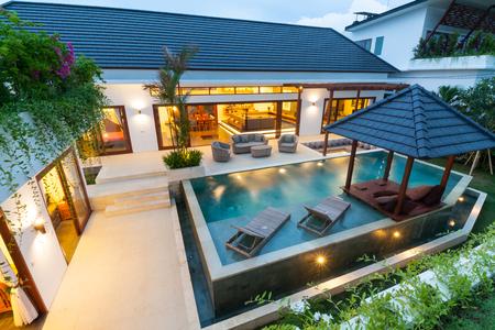 Tropical villa at sunset