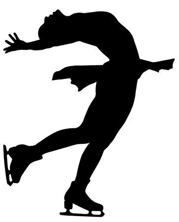 Silhouette of professional woman figure skater performing at Stars on ice show