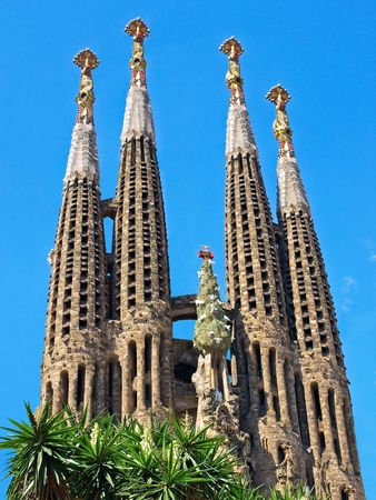 Sagrada Familia, Gaudi's most famous and uncompleted cathedral in Barcelona, Spain.