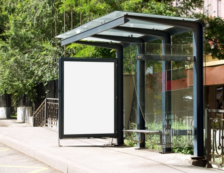Blank Billboard on Bus Stop for your advertising situated (with work path)