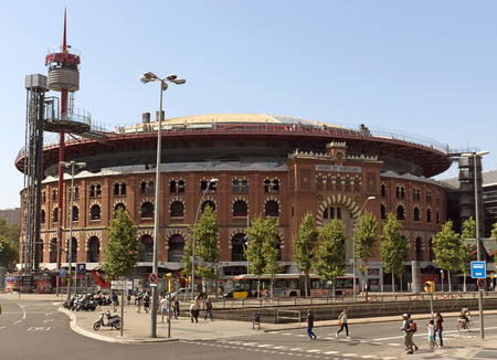 BARCELONA, SPAIN - JULY 6, 2015: Facade of Arena shopping mall, former bullring of Las Arenas in Barcelona, Spain.