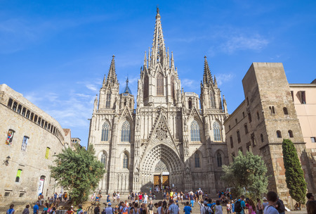 BARCELONA, SPAIN - JULY 8, 2016: Cathedral of the Holy Cross and Saint Eulalia, patron saint of Barcelona in Catalonia, Spain.