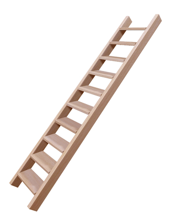 Photo pour 3D rendering of wooden ladder isolated on white - image libre de droit