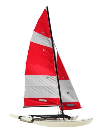 Photo pour Sailing Catamaran isolated on white background.  with  . - image libre de droit