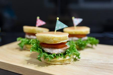 three pancake burger