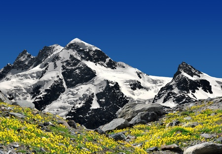 Beautiful mountain Breithorn and Klein Matterhorn - Swiss alps