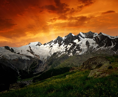 sunset above the Mischabel group - Swiss alps