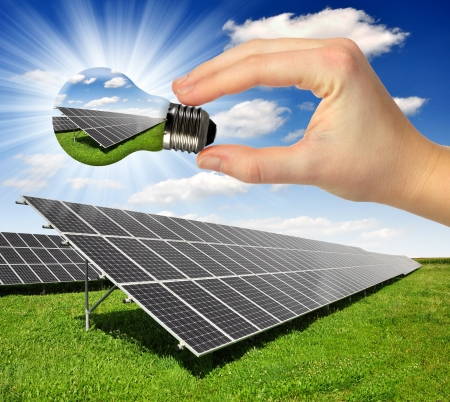 Photo for Bulb with of solar panel  - Royalty Free Image