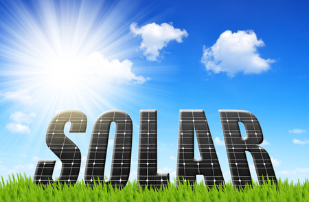 Photo for The word Solar from solar energy panels - Royalty Free Image