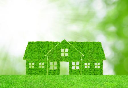 Foto de Green house symbol on meadow - Imagen libre de derechos