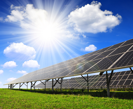 Photo for Solar energy panels with sunny sky - Royalty Free Image