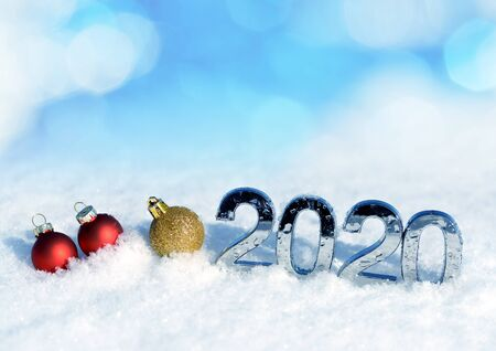 Photo pour Number 2020 with Christmas decorations in snow. New Year concept. - image libre de droit