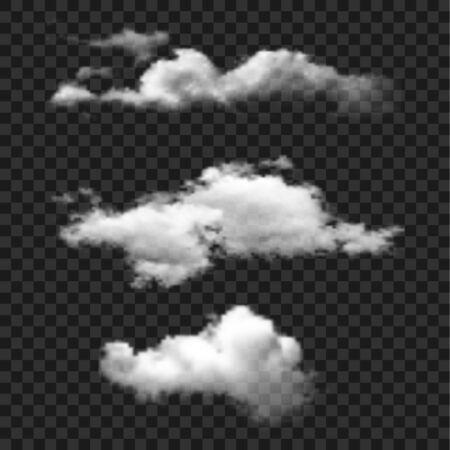 Illustration pour Cloud set vector icon. Clouds on transparent background. Simple isolated illustration. - image libre de droit