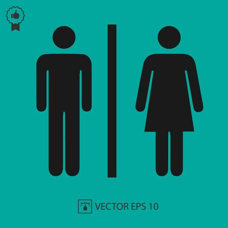 Illustration pour Lady and man toilet sign vector icon. Restroom symbol. Simple isolated illustration. - image libre de droit