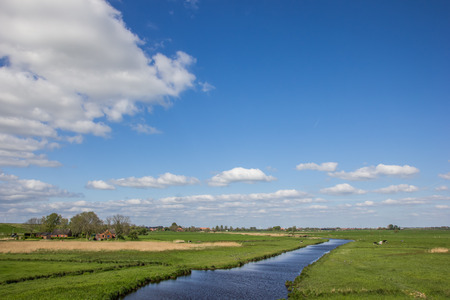 River along the dollard route in Ostfriesland, Germany