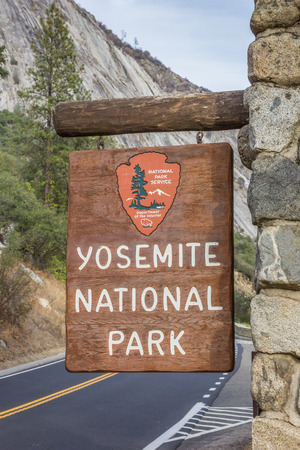 Entrance sign at Yosemite National Park, USA