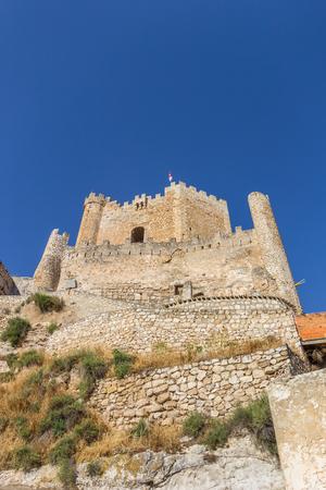 Hilltop castle of historic village Alcala del Jucar, Spain