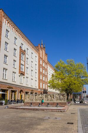 Apartment building on the main street of Rostock, Germany