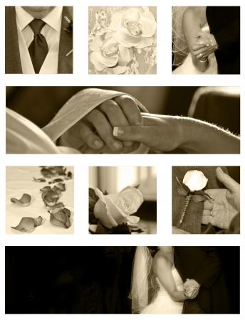 Foto de Wedding collage background collection in sepia - Imagen libre de derechos