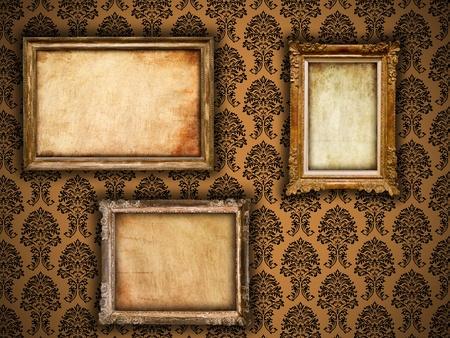 Photo pour Gilded frames on vintage damask style wallpaper background and grunge retro paper inserts - image libre de droit