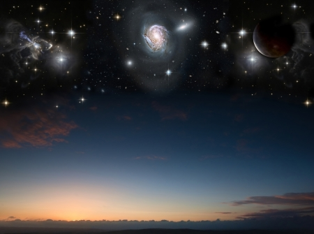 Countryside sunset landscape with planets in night sky