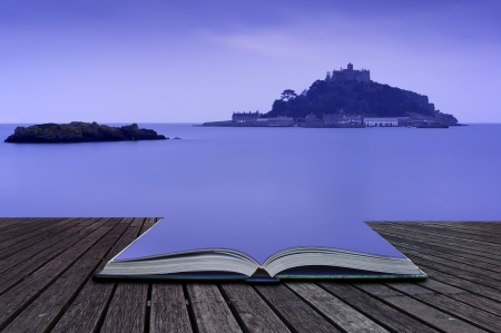 Creative concept pages of book St Michaels Mount