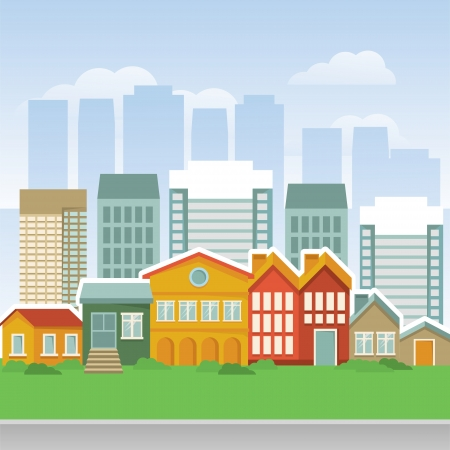city with cartoon houses and buidings - landsape