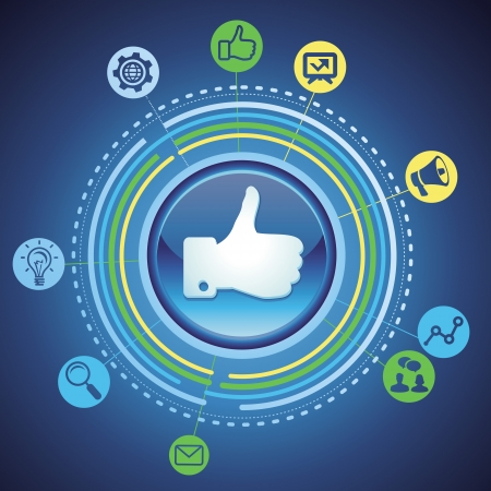social media concept - marketing icons and like sign