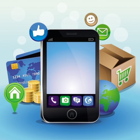 Vector mobile phone and icons - internet shopping concept