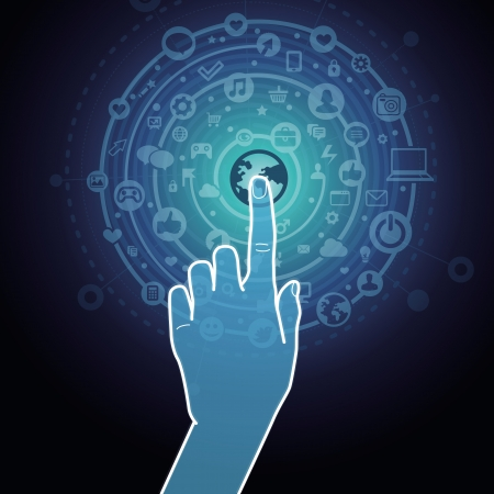 Illustration pour Vector touchscreen concept - hand touching internet sign with social media icons - image libre de droit
