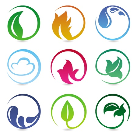 design elements with nature signs - abstract icons