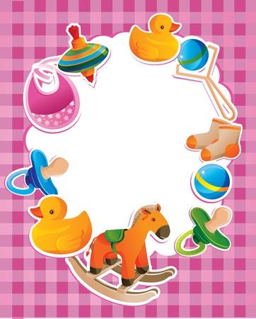 Foto de vector frame with children toys with blank space - Imagen libre de derechos