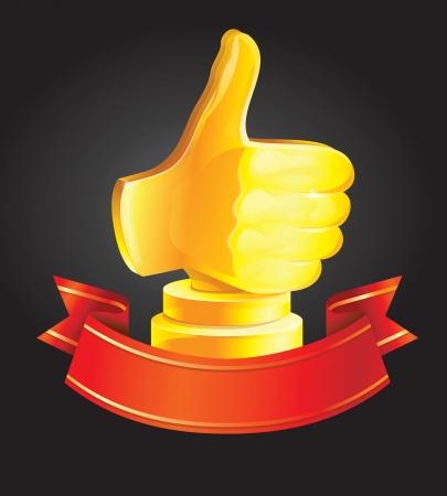 best choice award - golden hand - vector illustration