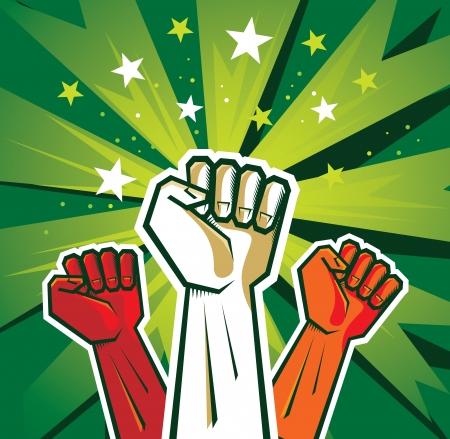 revolution hand poster - illustration on green background