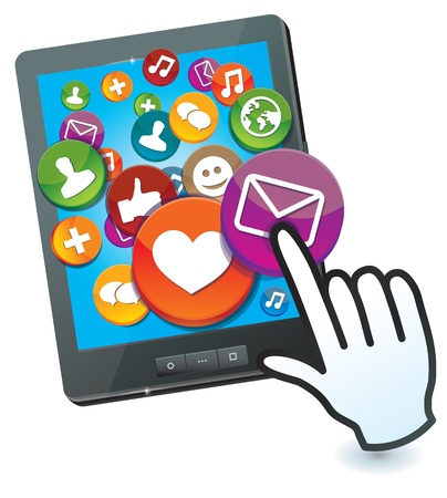 tablet pc with social media icons and hand cursor