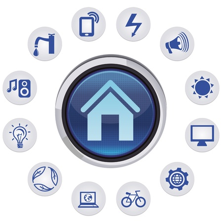Vector smart house concept - set with icons and app  signs