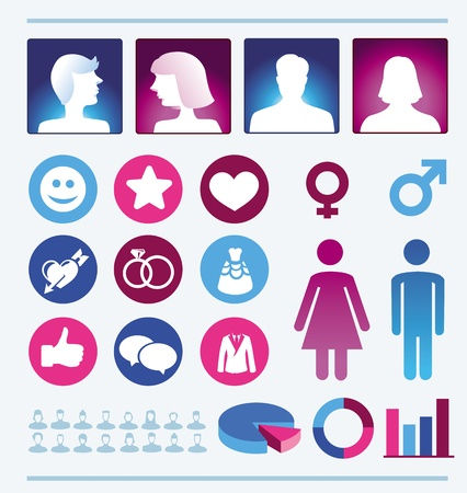 infographics design elements - man and woman icons and signs - female and male population
