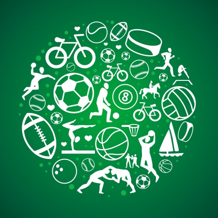 round concept with sport icons and signs - healthy life-style