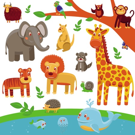 Photo for set of cartoon animals - funny and cute characters - tiger, lion, giraffe, elephant, raccoon - Royalty Free Image