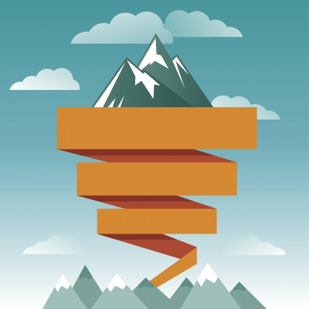 Illustration pour retro design template with mountain icon and ribbon for text - image libre de droit