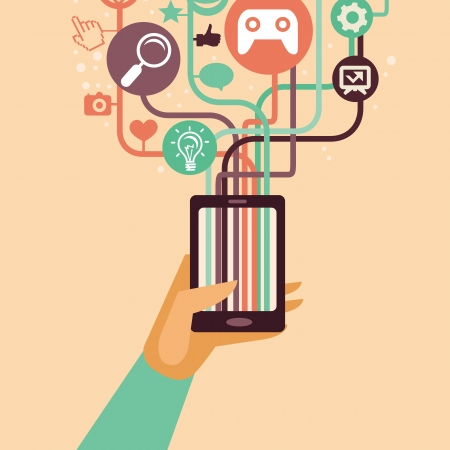hand and mobile phone with internet icons - illustration in flat retro style