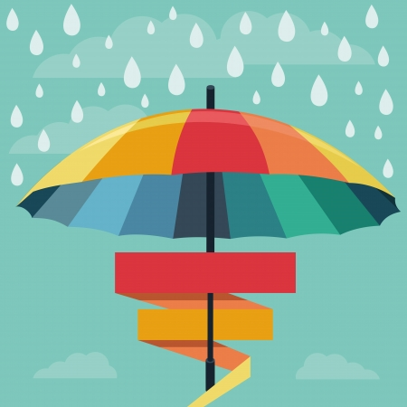 umbrella and rain drops in rainbow colors - abstract weather concept