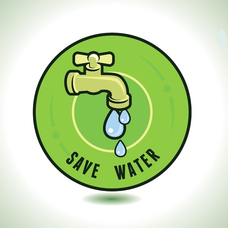 ecology concept - save water - tap icon and water drop