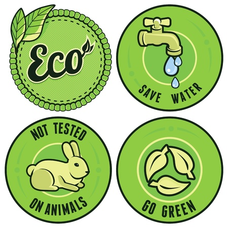 Set with circle ecology labels - not tested on animals, go green, save water
