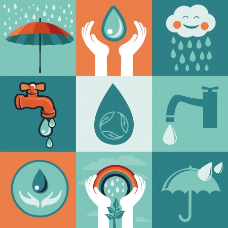 set of retro flat banners - save water signs and icons