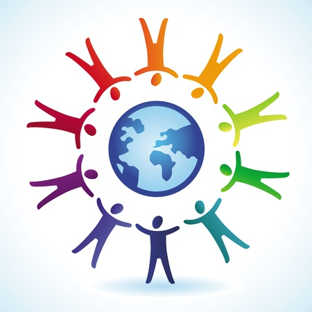 tolerance  concept - people icons and globe in rainbow colors