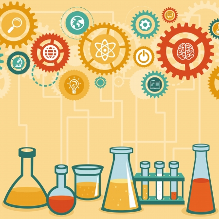Vector concept - chemistry and science research - design elements for infographic in flat style