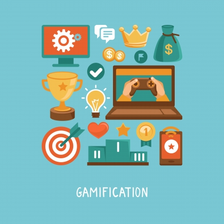 Vector concept in flat style - new trend in online business - gamification  Design elements and icons with rewards and achievement badges