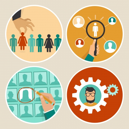Illustration pour Vector  human resources concepts and icons  - hand holding woman icon - in flat style - image libre de droit